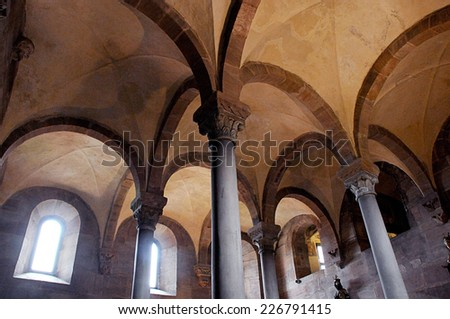 Nuremberg, September 2, 2014. Detail of the Upper Chapel,  the Double chapel, Imperial Castle (Kaiserburg) of Nuremberg. Franconia - stock photo