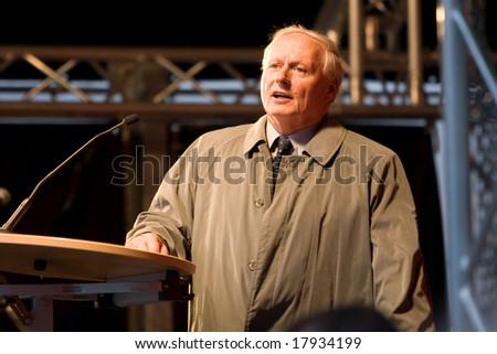 "NUREMBERG, September 25, 2008: Oskar Lafontaine, co-chairman of German left party ""Die Linke"" is speaking in a rally during an election campaign. Nuremberg, Germany, on 2008/09/25. - stock photo"