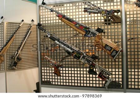 NURNBERG, GERMANY - MARCH 11: Feinwerkbau sporting weapons case open on display at IWA 2012 & OutdoorClassics exhibition on March 11, 2012 in Nurnberg, Germany - stock photo