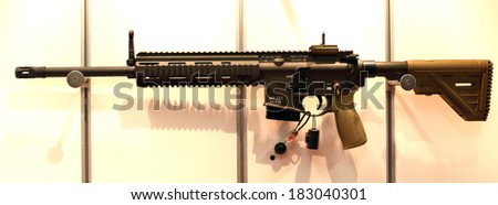 NURNBERG, GERMANY - MARCH 9: Heckler & Koch MR223 carbine on display at IWA 2014 & Outdoor Classics exhibition on March 9, 2014 in Nurnberg, Germany - stock photo
