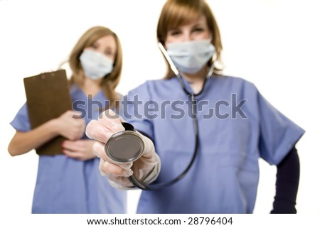 Nurse and doctor holding stethoscope to listen isolated on white - stock photo