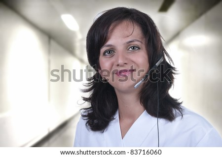 nurse called from the hospital hallway - stock photo