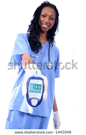 Nurse checking diabetic's blood sugar, shallow DoF with focus on test reading. - stock photo