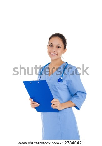 nurse doctor woman smile with stethoscope hold clipboard, wear blue surgery medical suit. Isolated over white background - stock photo
