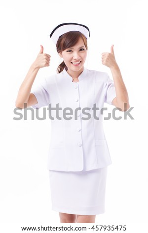 nurse giving two thumbs up gesture