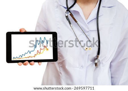 nurse holds tablet pc with chart picture isolated on white background - stock photo