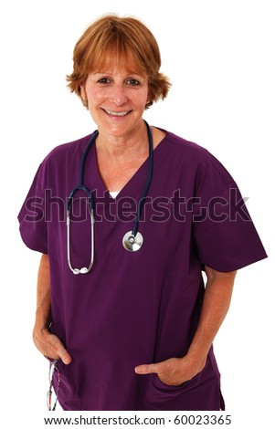 Nurse In Her 50's Smiling At Camera - stock photo
