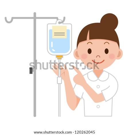Nurse preparing IV drip - stock photo