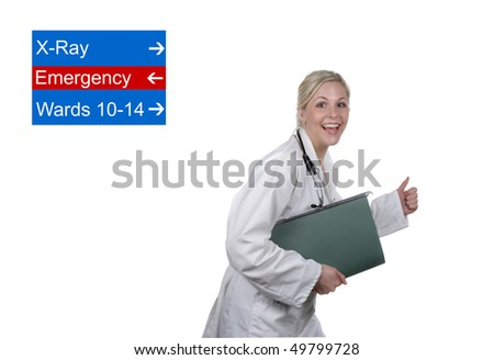 Nurse running - stock photo
