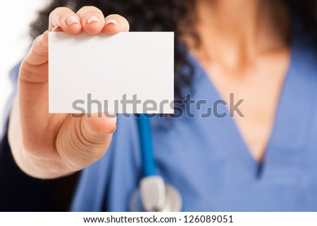 Nurse showing a blank business card