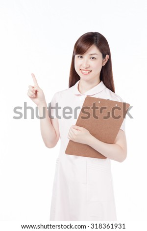 Nurse smile chart board finger-pointing