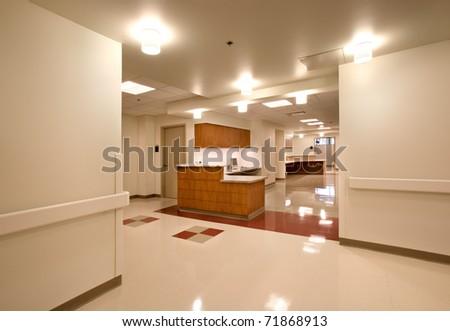 Nurse Station/ Nurses Station in a Hospital/ New nurses station in a hospital - stock photo