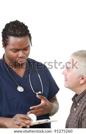 Nurse talking to a patient - stock photo