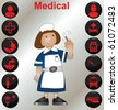 Nurse with a selection of medical icons - stock photo