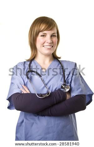 nurse with arms crossed smiling at camera isolated on white background - stock photo