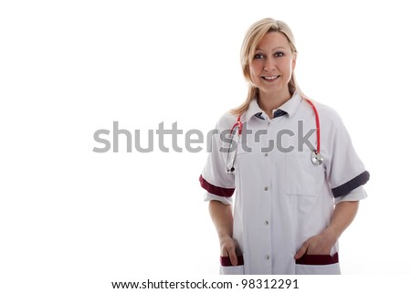 nurse with hands in the pockets - stock photo