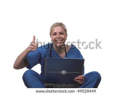 Nurse with laptop - stock photo