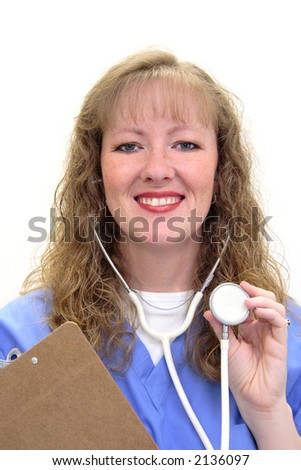Nurse with long blond, wavy hair. She's wearing scrubs and holding a stethoscope and a clipboard. Isolated on white. - stock photo