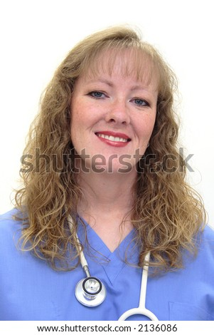 Nurse with long blonde hair wearing a stethoscope and scrubs. Isolated on white - stock photo