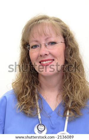 Nurse with long blonde, hair wearing a stethoscope and scrubs. Nurse has eye glasses on. Isolated on white. - stock photo