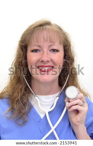 Nurse with long blonde hair wearing a stethoscope and scrubs. Shes holding the stethoscope in one hand. Isolated on white. - stock photo