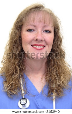 Nurse with long blonde, wavy hair wearing a stethoscope and scrubs. Isolated on white. - stock photo