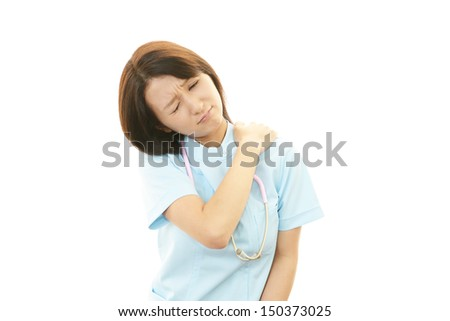 Nurse with shoulder neck pain.