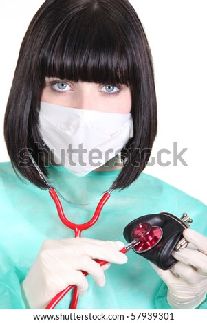 Nurse with stethoscope and wallet - stock photo