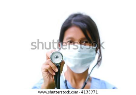 Nurse with stethoscope/ Selective focus on stethoscope - stock photo