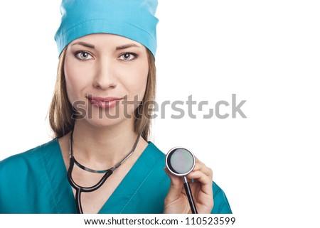 Nurse ,young doctor portrait. Caucasian female model. - stock photo