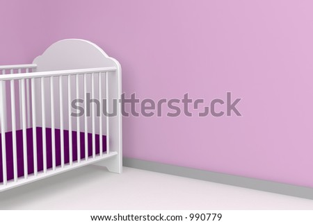 nursery 3d render with space for message - stock photo