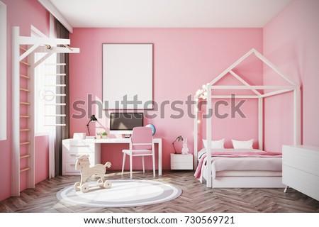 Nursery Pink Walls Wooden Floor Double Stock Photo & Image (Royalty ...