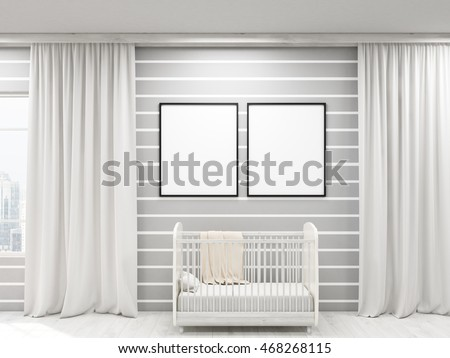 White Fluttering Curtains Window On White Stock Vector