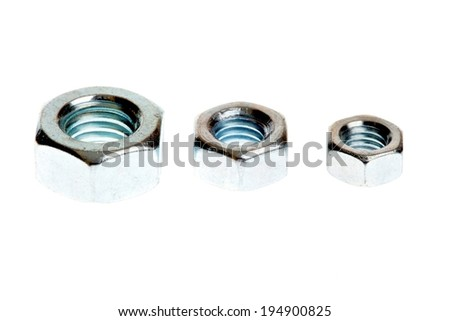 Nut and bolt isolated on white background - stock photo