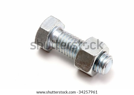 Nut and bolt isolated on white background