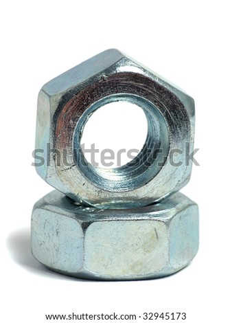 Nut and screw over white - stock photo
