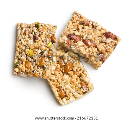 nut bar on white background - stock photo