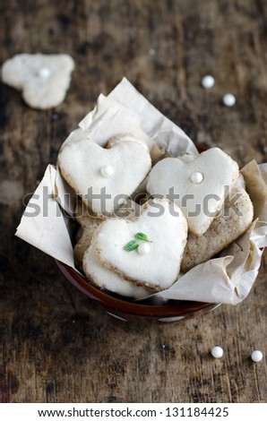 Nut cookies in the shape of a heart - stock photo