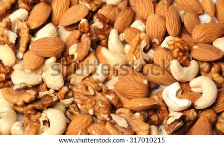 Nut mix. Almond, walnut and cashew - stock photo