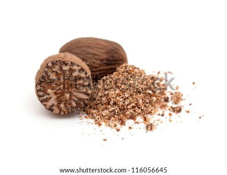 nutmeg isolated on white - stock photo