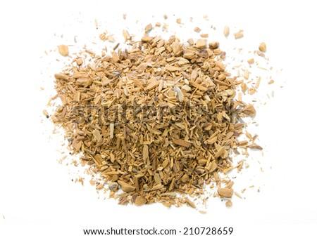 nutmeg spice on white background - stock photo