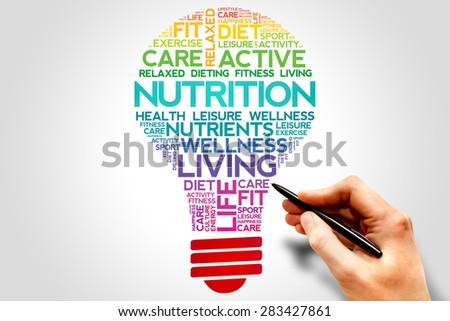 Nutrition bulb word cloud, health concept - stock photo
