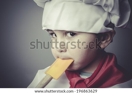 nutrition child dress funny chef, cooking utensils - stock photo