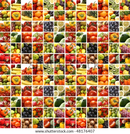 Nutrition collage of many pictures - stock photo