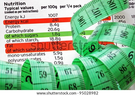 Nutrition facts and measure tape concept for dieting and healthy eating - stock photo
