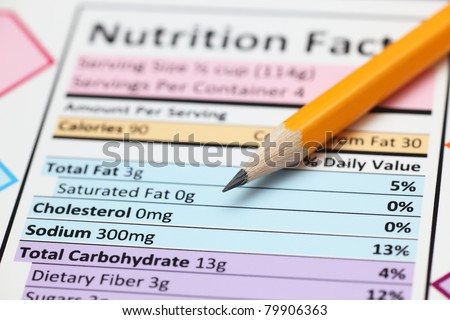 Nutrition facts. Close-up. - stock photo