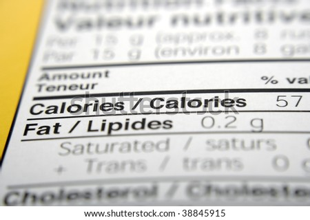 Nutrition facts focused on Calories.