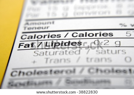 Nutrition facts focused on Fat. - stock photo