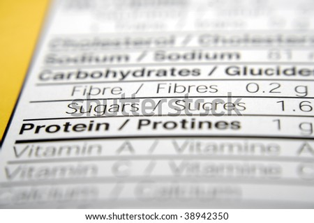 Nutrition facts focused on Sugar. - stock photo