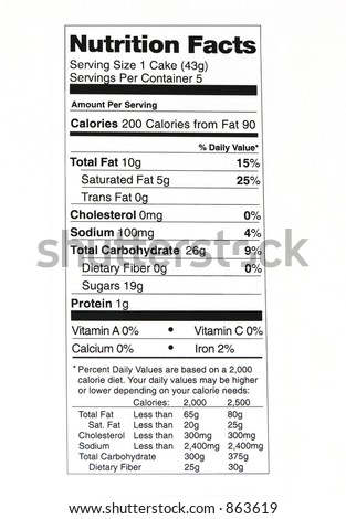 Nutrition Facts label 2 - stock photo
